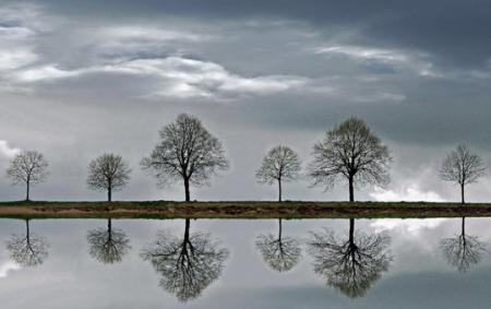 Bonsoir noir blanc gris paysage reflets effets for Miroir reflet
